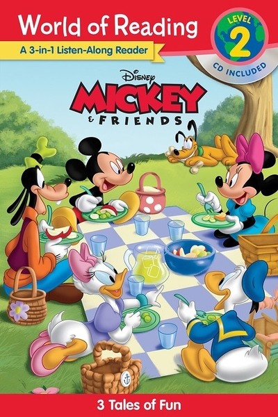【麥克書店】WORLD OF READING:MICKEY AND FRIENDS LISTEN ALONG L2 / 3合一.英文讀本書+CD