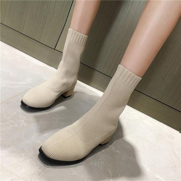 襪靴2020潮鞋秋冬新款方頭馬丁靴女英倫風針織襪子靴瘦瘦靴短筒短靴子