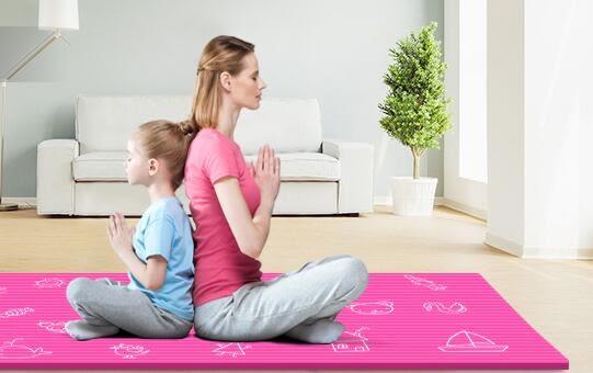 瑜伽墊跳舞蹈墊子兒童練功墊女孩防滑加厚瑜珈墊初學者三件套igo   蓓娜衣都