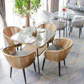 陽臺桌椅 藤椅三件套組合室外庭院酒店戶外桌椅五zg