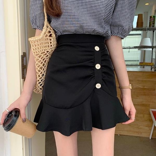 2021新款荷葉邊半身裙褶皺a字裙高腰顯瘦魚尾裙女夏季黑色短裙子 【端午節特惠】