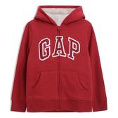 Gap男童 活力亮色徽標抓絨內裡連帽衫 477567-熱情紅