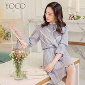 東京著衣【YOCO】柔美清新感蕾絲壓皺綁帶洋裝-S.M.L(180137)