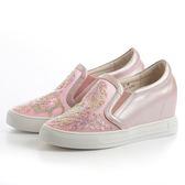 DeSire 閃耀水晶網布楔型鞋-粉