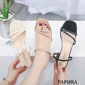 PAPORA流線設計顯瘦粗跟涼跟鞋KK79