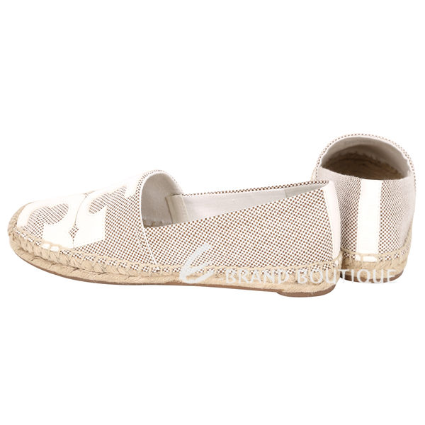 TORY BURCH Tivoli Espadrille 米白色LOGO拼接草編平底鞋 1620265-40