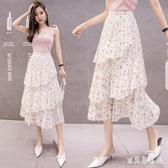 不規則蛋糕裙女2020新款春夏超仙氣質顯瘦高腰鬆緊腰碎花半身裙 TR1366『寶貝兒童裝』