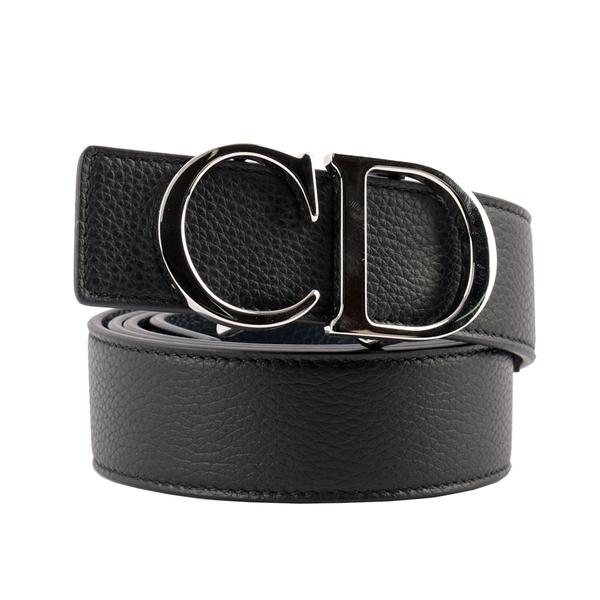 【DIOR】CD Logo 粒面牛皮雙面皮帶(黑色/深藍色) 90/95/100/105cm 寬3.5cm 4353PLTAM H16Q