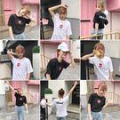 [超豐國際]短袖女學院原宿bf風夏裝寬松印花學生情侶裝T恤上1入