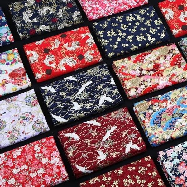 布料日本和風布料 燙金棉布 日式花布純棉中國風漢服古風旗袍面料清倉