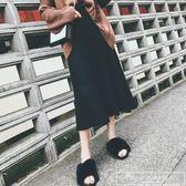 2019秋夏韓版新款a字針織半身裙女百搭中長款港味大擺百褶裙『韓女王』