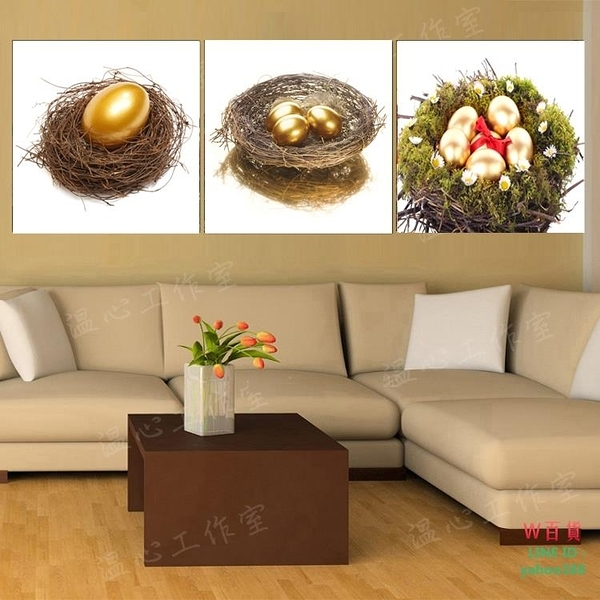 無框畫裝飾畫畫客廳餐廳掛畫壁畫臥室三聯畫白底金蛋金巢