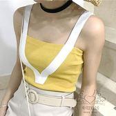 (百貨週年慶)復古正韓風簡約百搭撞色針織吊帶修身拼接打底衫小背心女