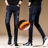 黑色牛仔褲男新款韓版潮流冬季加絨加厚保暖秋冬款男士長褲子  蘑菇街小屋