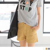 《BA3195》褲腳抽鬚雙口袋造型素色水洗棉短褲.3色 OrangeBear