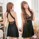 睡衣 性感睡衣 黑色誘惑蕾絲柔緞美背二件式性感睡衣 星光密碼A050
