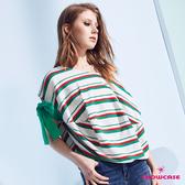 【SHOWCASE】雙色橫條紋寬領連袖綁帶寬版剪裁上衣(綠)