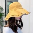 漁夫帽 防曬帽子遮臉大沿遮陽帽海邊沙灘字...