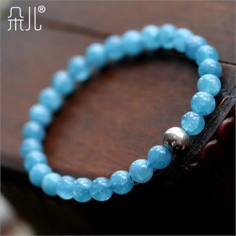 海藍寶手鏈 女款藍色水晶