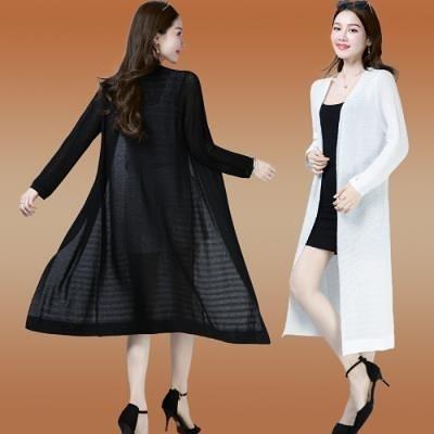 針織衫女裝春夏外套女外搭長款開衫披風薄款寬松大碼黑色修長披肩A323T19A快時尚