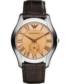 Emporio Armani 亞曼尼 羅馬時尚小秒針手錶-香檳金/咖啡 AR1704