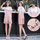 大童女孩初中學生韓版夏裝寬鬆牛仔短褲裙背帶褲  蓓娜衣都