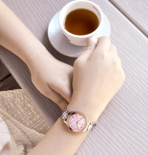 JOSERINEA 典雅風格三眼時尚腕錶-玫瑰金x粉/29mm