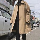 2019新款秋裝寬鬆韓版中長款風衣男士潮流大衣翻領雙面穿薄款外套