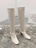 靴子 長筒靴子女騎士靴新款網紅軟皮白色秋冬不過膝加絨高筒長靴 優拓