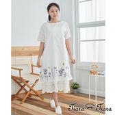 【Tiara Tiara】百貨同步 花葉裙襬小清新風格短袖洋裝(白/藍/黃)