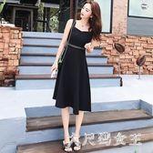 2018新款夏季無袖吊帶吊帶洋裝中長款長裙收腰顯瘦極簡主義小黑裙 ZJ1594 【大尺碼女王】