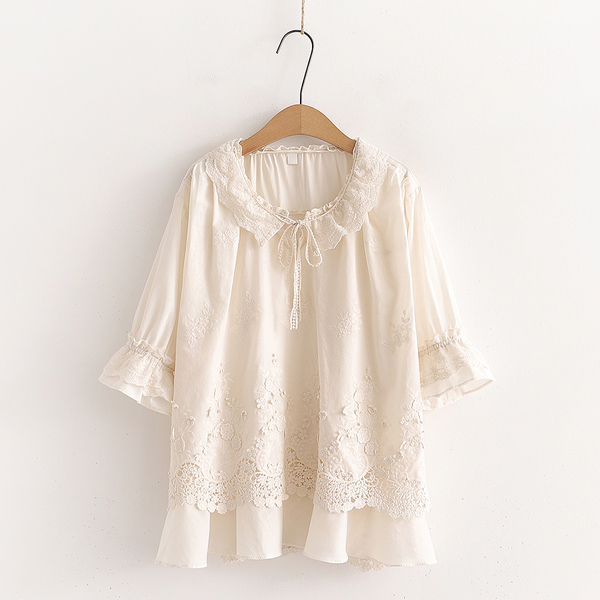 *ORead*刺繡純色棉麻花邊領上衣(米色F碼)