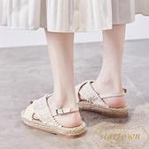 厚底涼鞋女夏季波西米亞平底草編麻繩漁夫鞋【繁星小鎮】