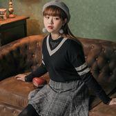 Poly Lulu 學院風條紋V領落肩針織毛衣-黑【91060029】