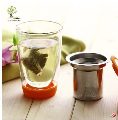 原創雙層玻璃茶杯耐高溫水杯子帶蓋過濾內膽吹製玻璃