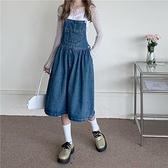 洋裝 復古 洋氣減齡寬松牛仔背帶連衣裙寬松吊帶裙R028-B依品國際