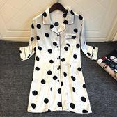 睡裙 白色波點襯衫性感睡衣女中長款睡裙甜美可愛冰絲綢開衫中袖薄 moon衣櫥