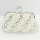 珍珠晚宴包-名媛風歐美時尚鑲鑽女手拿鏈條包71as50【巴黎精品】