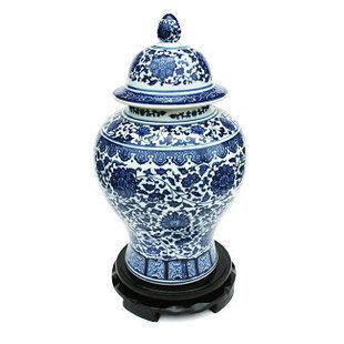 陶瓷 瓷器青花瓷富貴連藤將軍罐 工藝擺件 裝飾