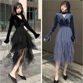 中大尺碼洋裝秋冬洋氣大碼女裝顯瘦絲絨網紗連身裙200斤中長款復古仙裙nm18036【Pink 】