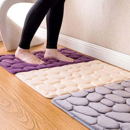 簡約鵝卵石地毯防滑墊 地墊 腳踏墊 防滑地墊 門墊 絨毛地墊 居家 浴室