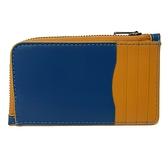 【COACH】卡片夾層男款中性名片夾零錢包(藍/橘)