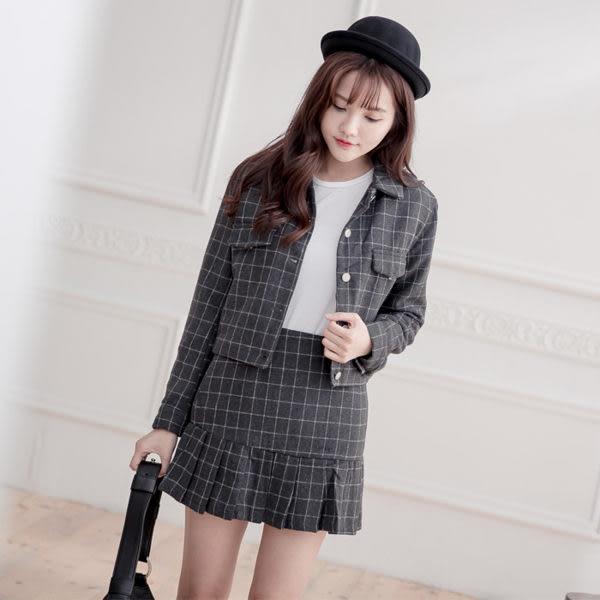 英倫風格紋毛呢套裝 短外套 + 格紋裙 (灰色)