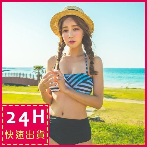 梨卡 - 二件式平口高腰遮小腹比基尼泳衣 - 性感夏日字母復古條紋泳裝C655