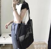 夏季新款韓版網格手提包購物袋網眼鏤空沙灘包帆布單肩女包包  蓓娜衣都