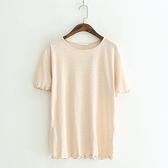 短袖T恤-純色清新甜美波浪邊簡約女上衣3色73sy38[巴黎精品]