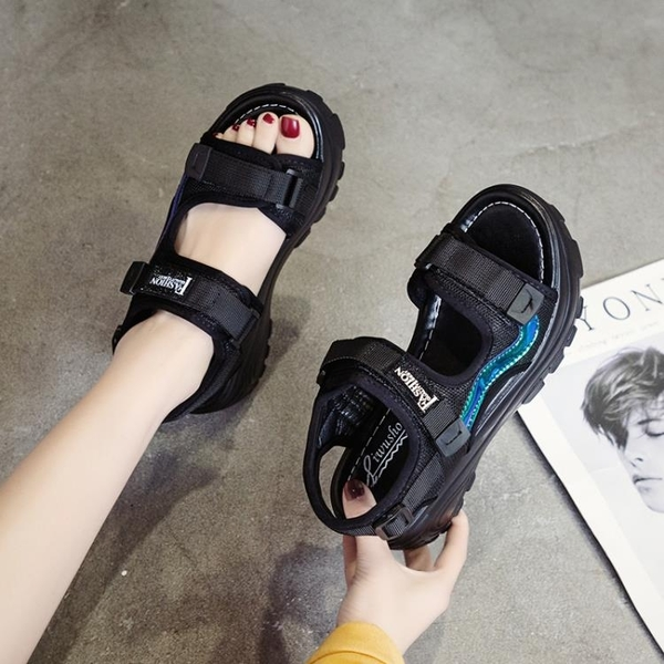 增高涼鞋 厚底涼鞋女鬆糕夏季新款高跟厚底楔形運動軟底防滑增高-Ballet朵朵