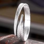 時尚女鍍銀時尚復古天使羽毛手鐲 開口可調節手環 《小師妹》ps245