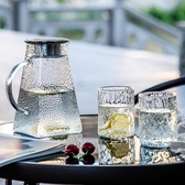 冷水壺玻璃耐高溫家用茶壺套裝大容量涼水壺水杯防爆加厚白開水壺 滿天星