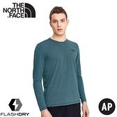 【The North Face 男 FLASHDRY 排汗長袖《雜藍》】4UAI/排汗衣/圓領長袖/休閒上衣